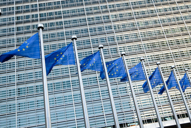 brussels european flags royaltyfria bilder