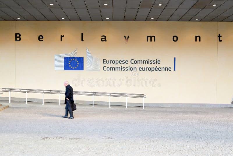 brussels european flags royaltyfri foto
