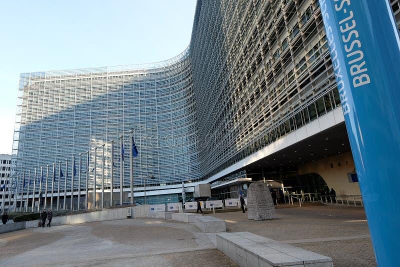 brussels european flags arkivfoto