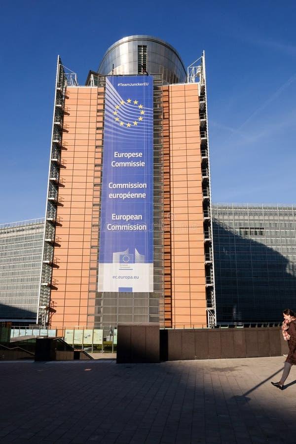 brussels european flags royaltyfri bild