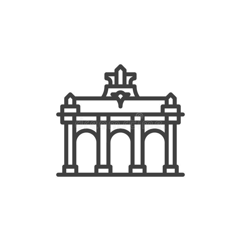Brussels famous landmarks line icon royalty free illustration
