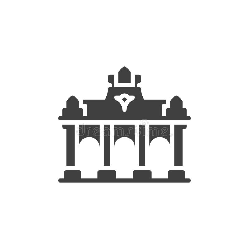Brussels famous landmarks vector icon stock illustration