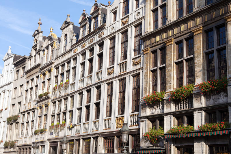 Brussels Grand Place. Houses of the Brussels Grand Place in the shiny weather stock image