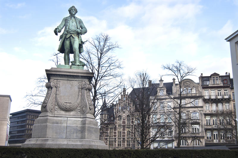 Download Brussels Hero Statue stock image. Image of detail, flag - 23353421