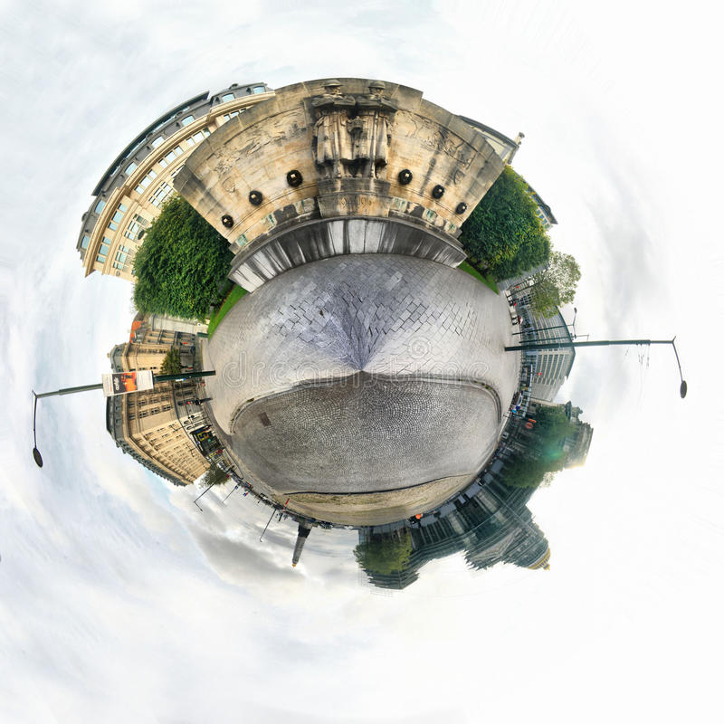 Brussels, Infantry monument in Place Poelaert. Little Planet view stock image