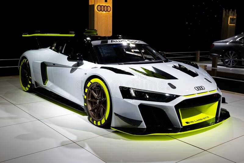 BRUSSELS - JAN 9, 2020: Audi R8 LMS GT2 sports car showcased at the Brussels Autosalon 2020 Motor Show. Race racing white new modern model automobile automotive stock photos