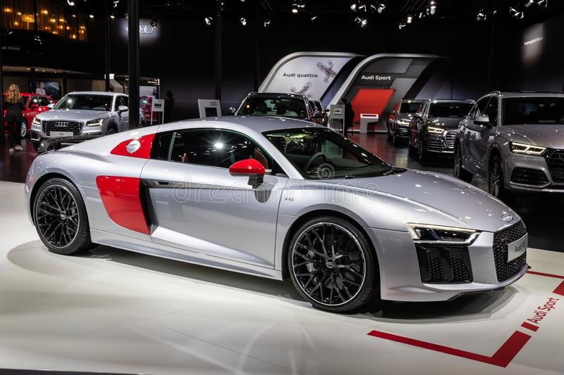 Audi R8 V10 sports car. BRUSSELS - JAN 10, 2018: Audi R8 V10 sports car showcased at the Brussels Expo Autosalon motor show royalty free stock photos