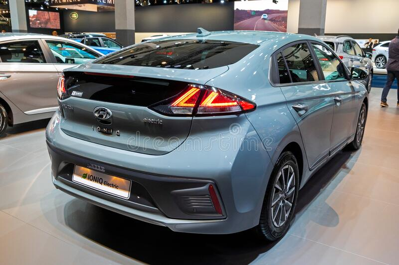 BRUSSELS - JAN 9, 2020: New Hyundai IONIQ Electric car model showcased at the Brussels Autosalon 2020 Motor Show. Ev blue modern automobile automotive type stock photo