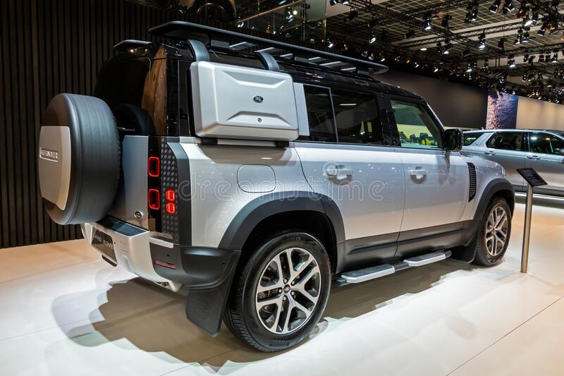 BRUSSELS - JAN 9, 2020: New Land Rover Defender car model showcased at the Brussels Autosalon 2020 Motor Show. Landrover suv luxury modern automobile automotive stock image
