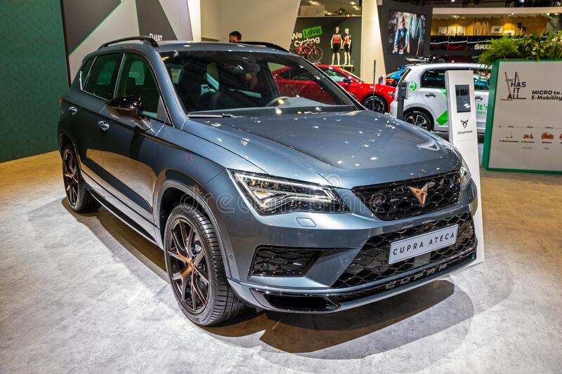BRUSSELS - JAN 9, 2020: New  SEAT Cupra Ateca car model showcased at the Brussels Autosalon 2020 Motor Show. Blue modern automobile automotive type newest stock photos