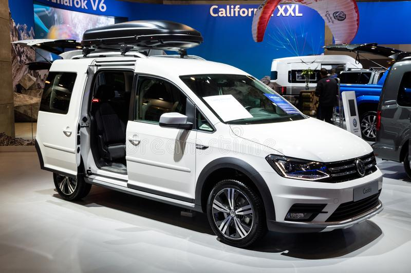Volkswagen Caddy car. BRUSSELS - JAN 10, 2018: Volkswagen Caddy car showcased at the Brussels Expo Autosalon motor show royalty free stock images