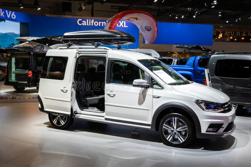 Volkswagen Caddy car. BRUSSELS - JAN 10, 2018: Volkswagen Caddy car showcased at the Brussels Expo Autosalon motor show royalty free stock image