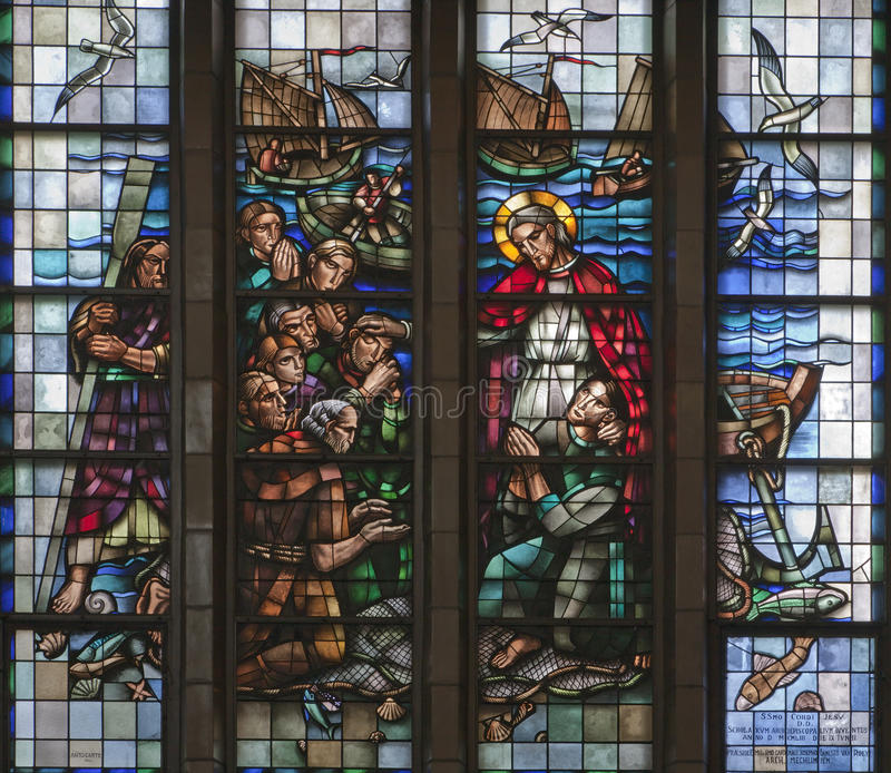 Download Brussels - Miracle Fishing From Windowpane Of National Basilica Stock Image - Image of testament, fishing: 29885067