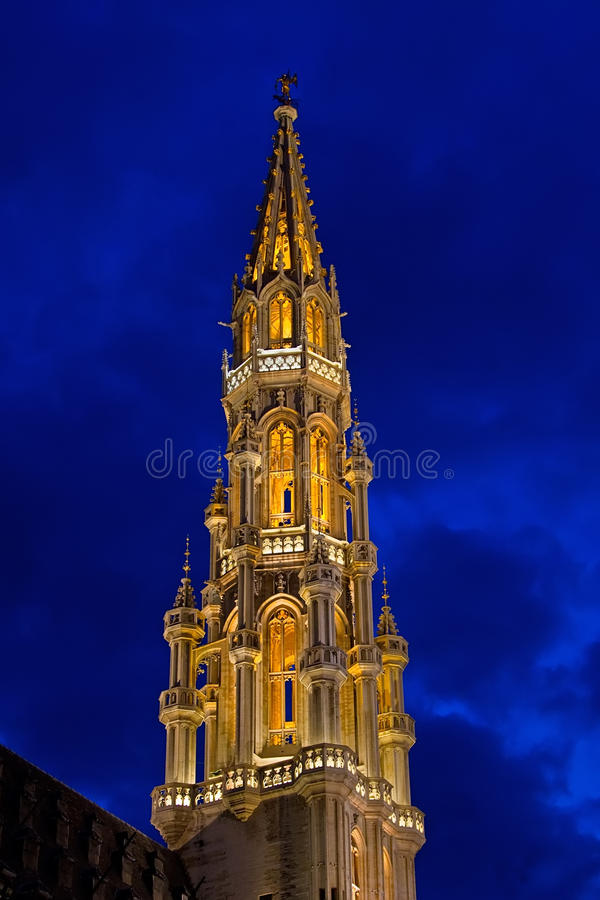 Brussels Natttorn Arkivbilder