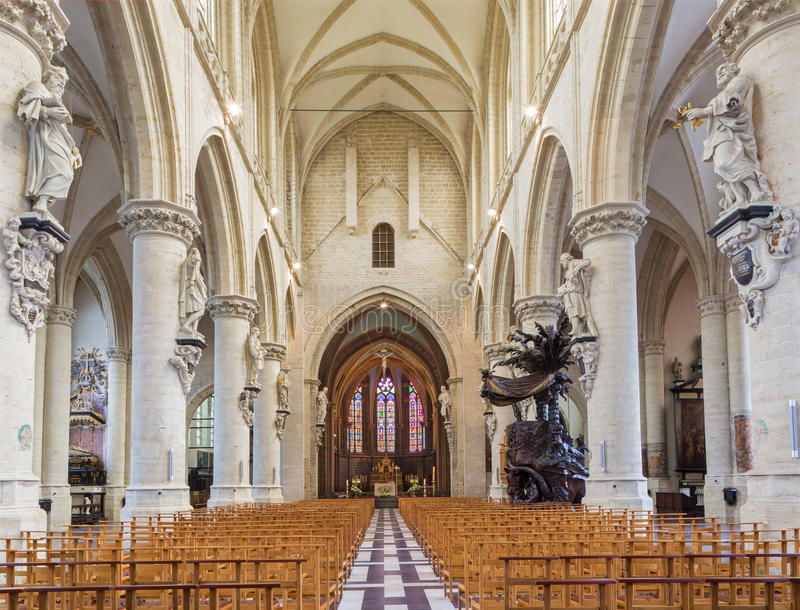 Brussels - The nave of gothic church Notre Dame de la Chapelle. BRUSSELS, BELGIUM - JUNE 15, 2014: The nave of gothic church Notre Dame de la Chapelle royalty free stock image