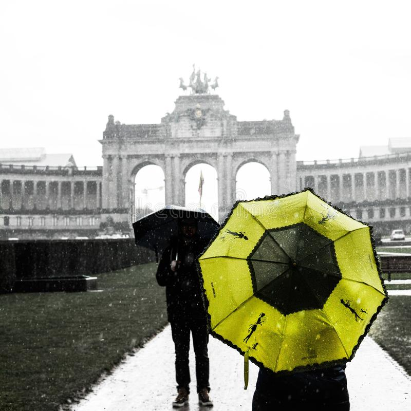 Brussels in the rain royalty free stock photography