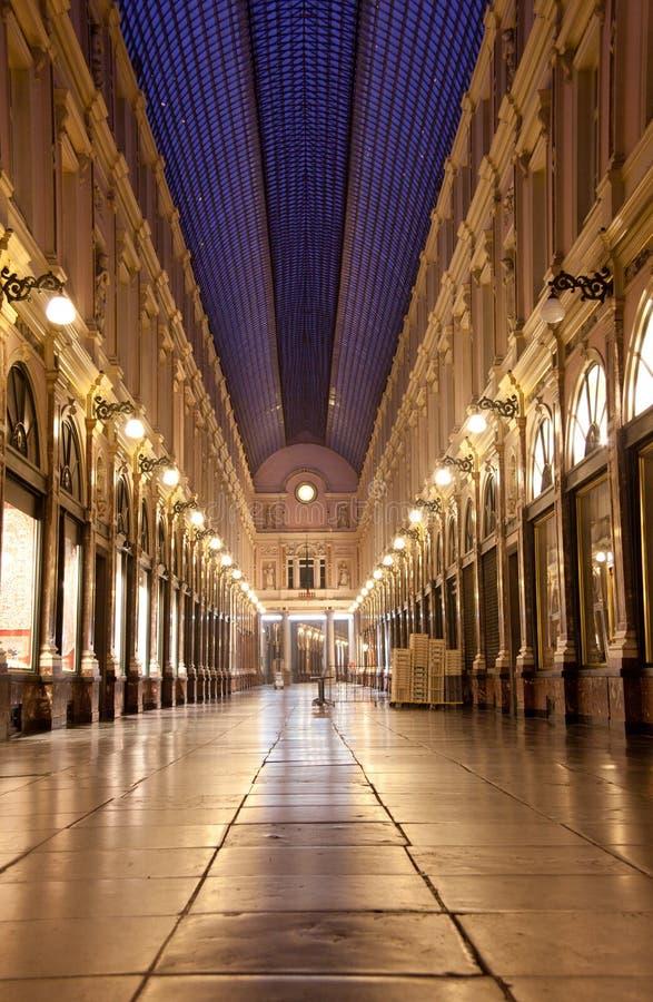 Brussels, Royal Galleries of Saint Hubert. Shopping area in Bruxelles, Belgium, night scene royalty free stock photo