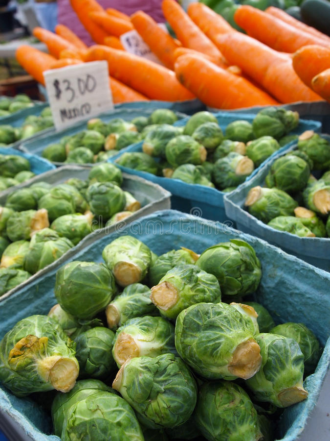 Brussels Sprouts At The Farmer's Market royalty free stock photos