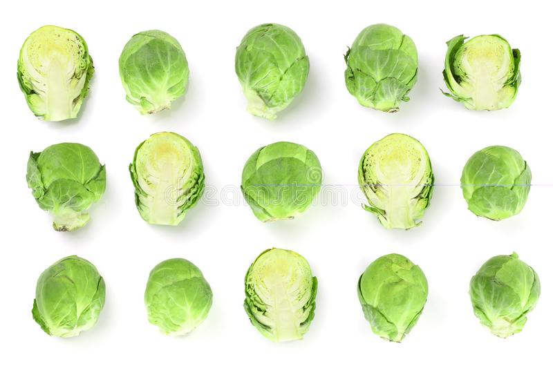 Brussels sprouts isolated on white background closeup. Top view. Flat lay. Set or collection royalty free stock photos