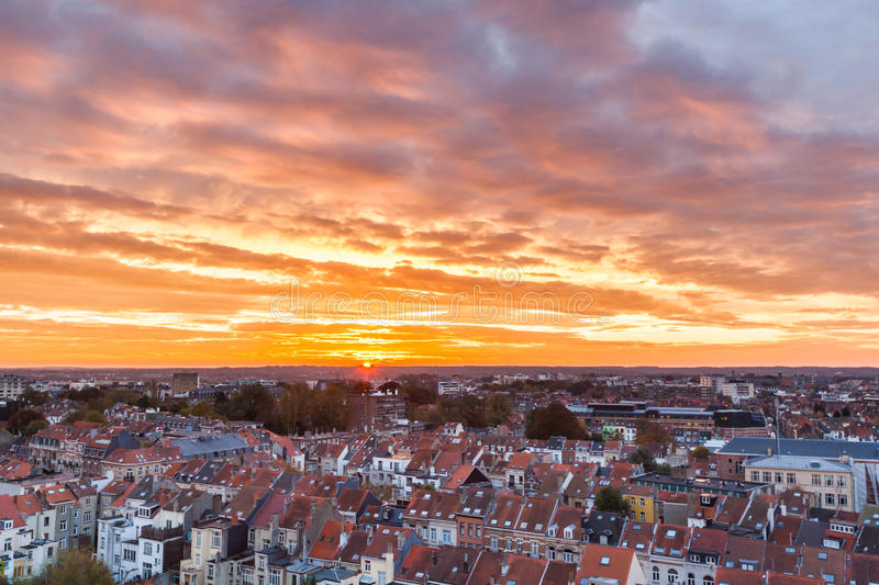 Brussels sunrise. Beautiful aerial view of Brussels in the morning. Belgium stock image