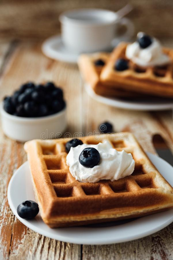 Brussels waffles with blueberry and whipped cream royalty free stock image