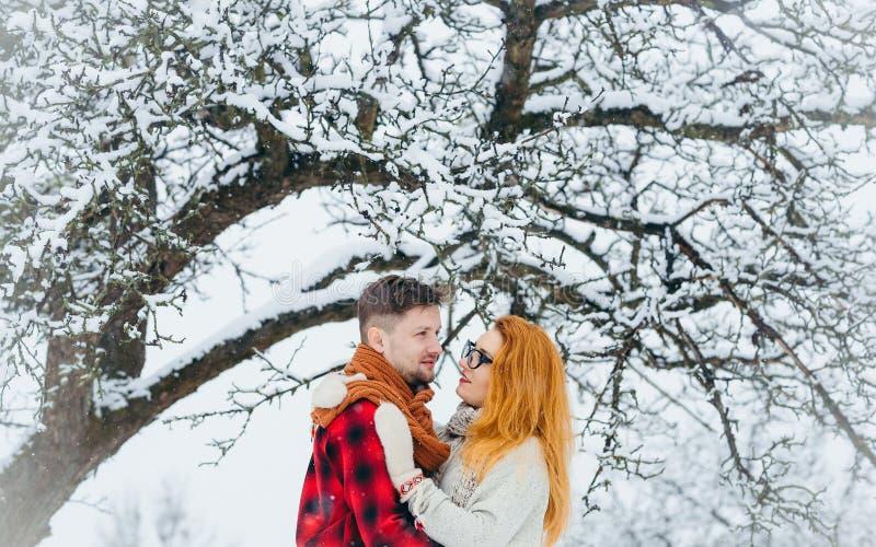 Brustbild der liebevollen Paare Die schönen redhair Frauen umarmt ihren hübschen Liebhaber im schneebedeckten Wald lizenzfreie stockfotos