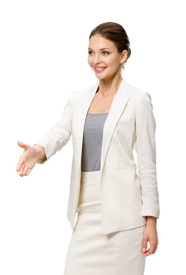 Brustbild des weiblichen Exekutivhändedruckgestikulierens lizenzfreie stockbilder