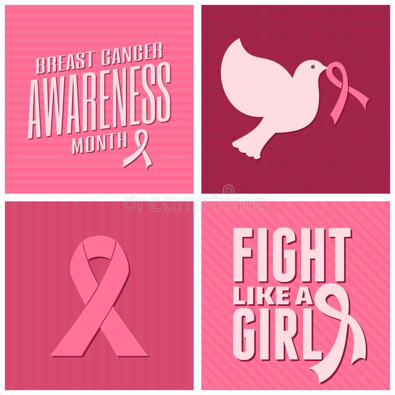 Brustkrebs-Bewusstsein kardiert Sammlung lizenzfreie abbildung