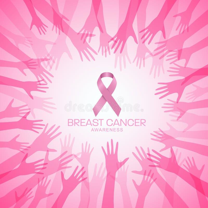 Brustkrebs BEWUSSTSEIN mit rosa Band im Kreishandvektor-Illustrationsdesign stock abbildung
