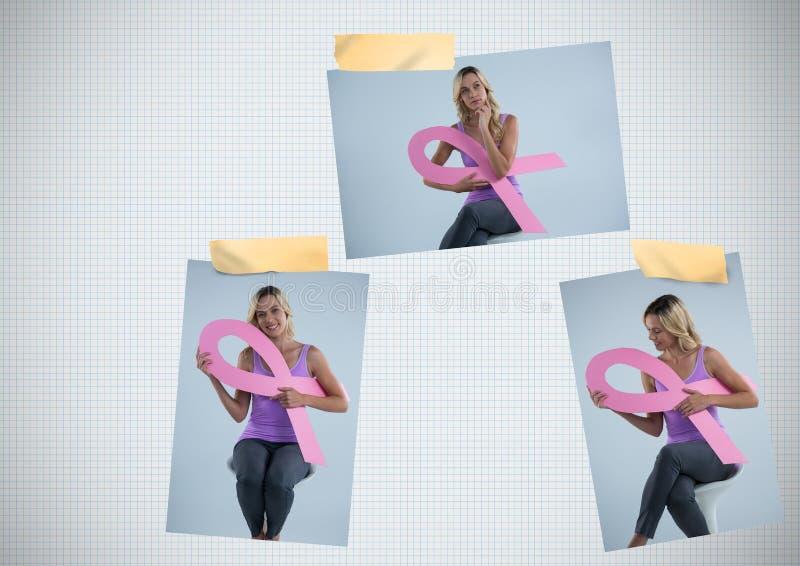 Brustkrebs-Bewusstseins-Foto-Collage mit der Frau, die Band hält lizenzfreie stockfotos