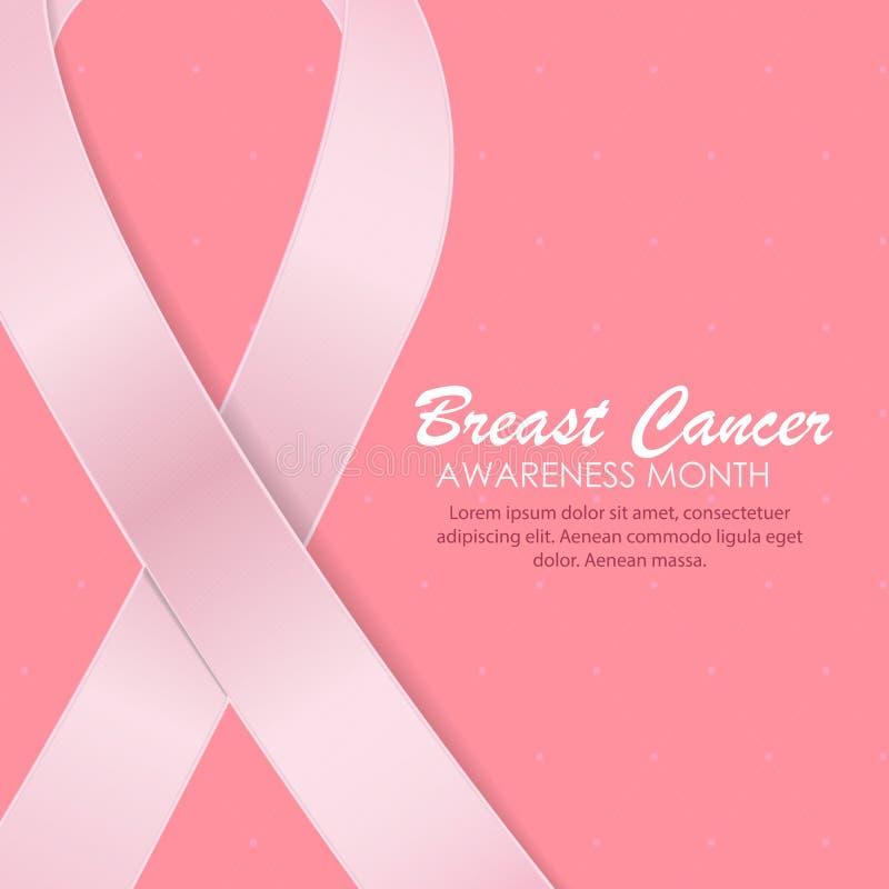 Brustkrebs-Bewusstseins-Monats-Rosa-Band-Hintergrund-Vektor vektor abbildung