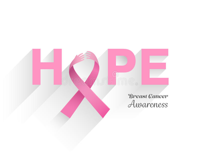 Brustkrebs-Bewusstseinsmitteilung der Hoffnung lizenzfreie abbildung