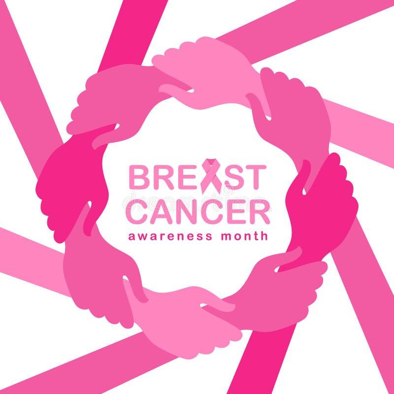 Brustkrebs-Bewusstseinsmonatsfahne mit der rosa Handgriffhand um Kreisrahmen und rosa Bandvektorillustration entwerfen lizenzfreie abbildung