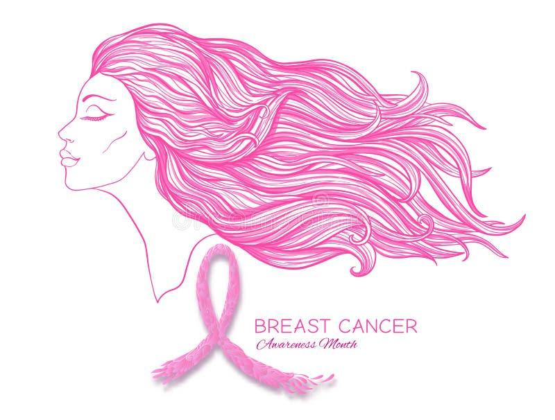 Brustkrebs-Bewusstseinsmonatsplakat mit rosa Band- und Frauenporträt lizenzfreie abbildung