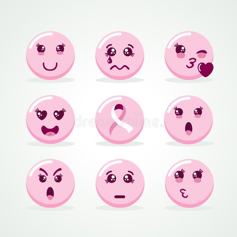 Brustkrebs-Bewusstseinsrosa emoji Gesichts-Ikonensatz stock abbildung
