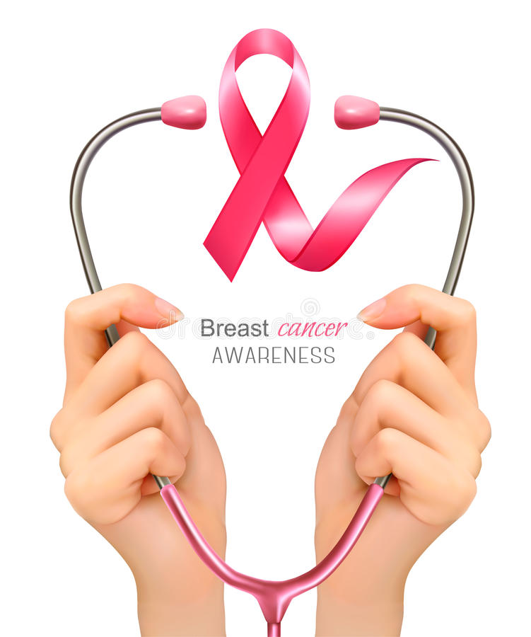 Brustkrebsbewusstsein Hände, die ein Stethoskop halten lizenzfreie abbildung