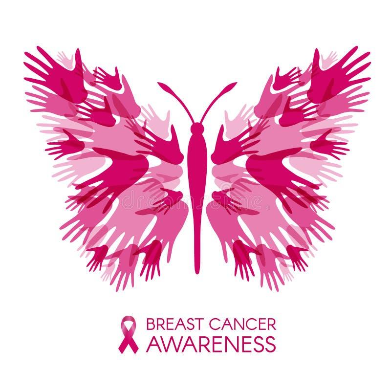 Brustkrebsbewusstsein mit Handschmetterlingszeichen und rosa Band vector Illustration stock abbildung
