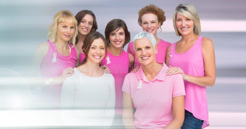 Brustkrebsfrauen mit Übergang lizenzfreie stockbilder