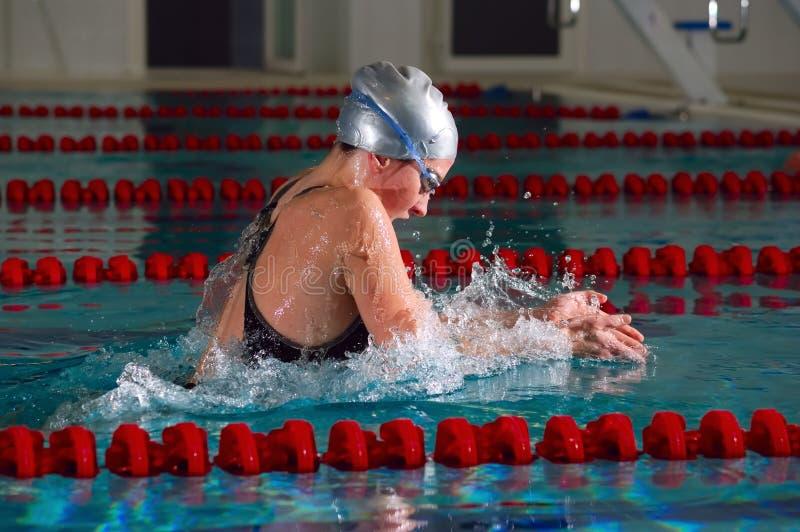 Brustschwimmen lizenzfreie stockfotos
