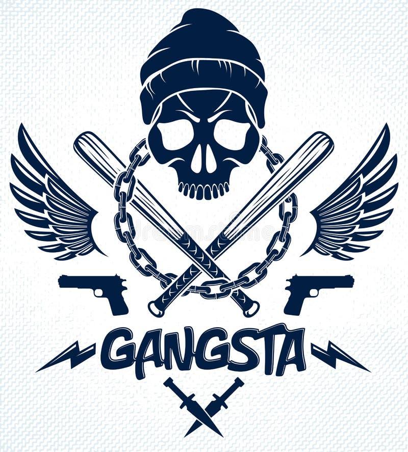 Brutaal gangsterembleem of embleem met de agressieve knuppels van het schedelhonkbal en andere wapens en ontwerpelementen, vector royalty-vrije illustratie