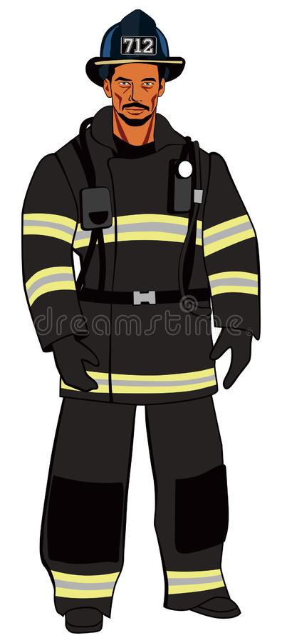 Brutal American firefighter in dark uniform stock photos
