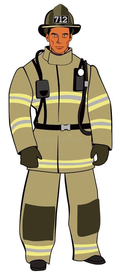 Brutal amerikansk brandman i ljus form stock illustrationer