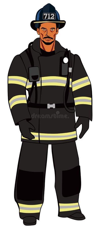 Brutal amerikansk brandman i mörk likformig royaltyfri illustrationer