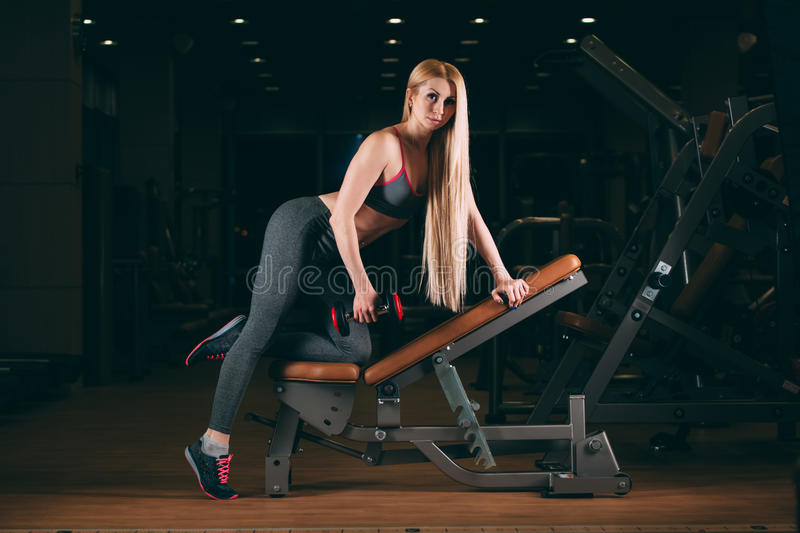 Brutal athletic woman pumping up muscles with dumbbells in gym stock photography