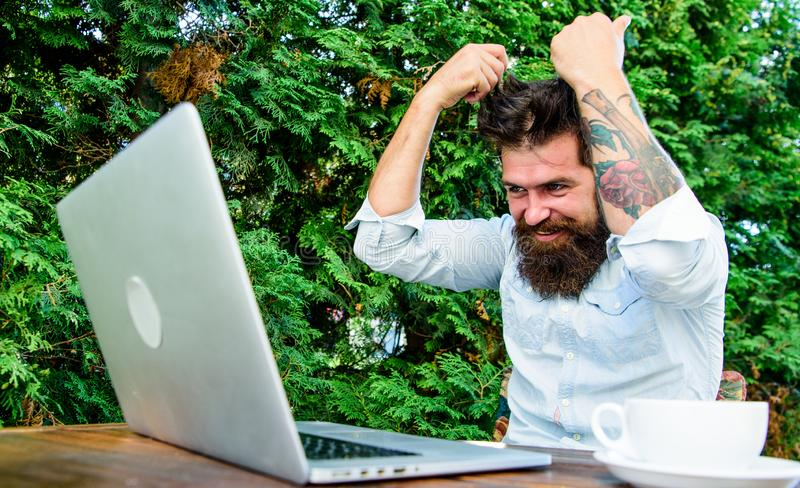 Brutal bearded hipster need coffee break. agile business. solve problem. deadline. a lot of work. Frustrated office stock photos