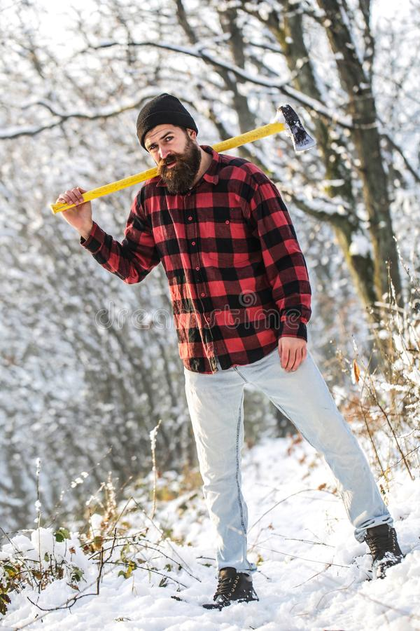 Brutal bearded man with beard and moustache on winter day, snowy forest. Handsome man, hipster, lumberjack. Attractive. Bearded male outdoors in winter stock image