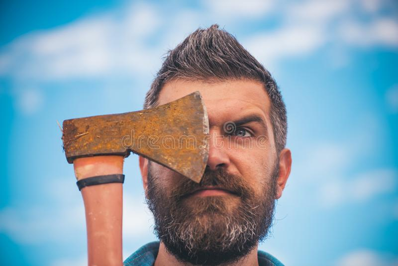 Brutal caucasian hipster with moustache. Bearded brutal man. male with beard. Mature hipster with beard. brutal bearded. Man with ax. hiking concept. axe royalty free stock images