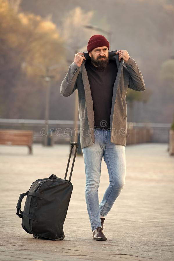 Brutal caucasian hipster with moustache. Male barber care. Mature hipster with beard. Fashion man with beard. Bearded. Man. traveling and vacation. autumn royalty free stock image
