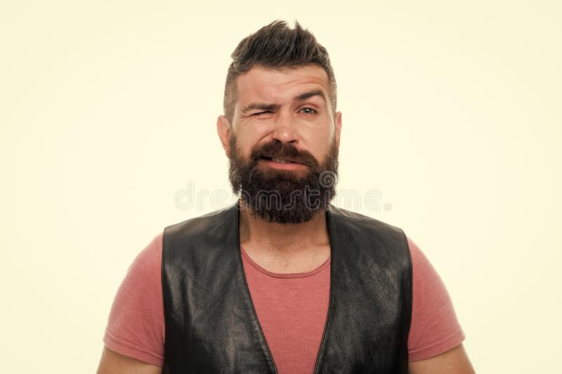 Brutal caucasian hipster with moustache. Mature hipster with beard. Male barber care. winking man hipster. Bearded man stock photo