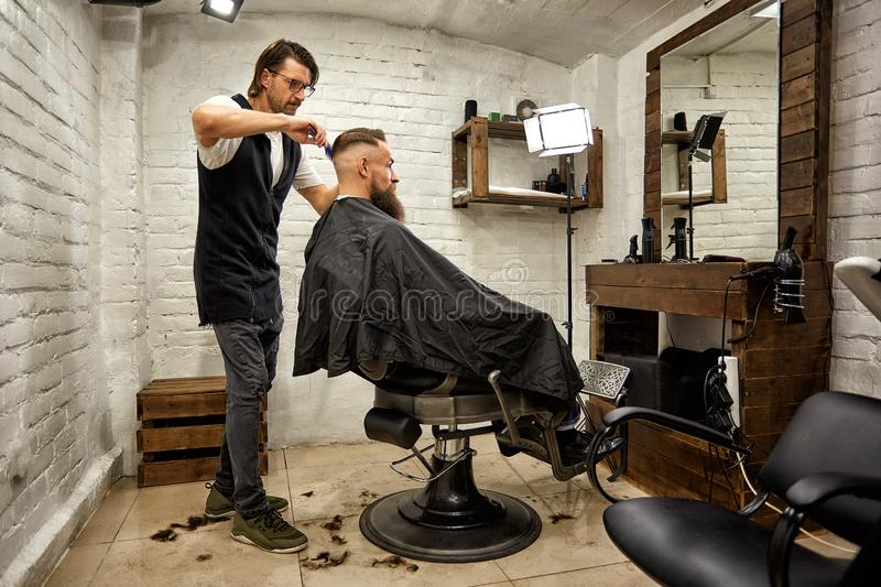 Brutal guy in modern Barber Shop. Hairdresser makes hairstyle a man with a long beard. Master hairdresser does hairstyle. Brutal guy in modern Barber Shop royalty free stock photos